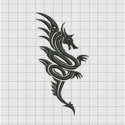 Dragon Tribal Tattoo Style Embroidery Design in 3x3 4x4 5x5 and 6x6 Sizes
