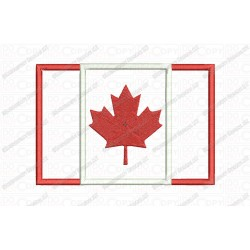 Canada Country Flag Applique Embroidery Design in 3x3 4x4 and 5x7 Sizes
