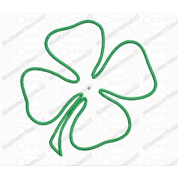 4 Leaf Clover Four Applique Embroidery Design in 2x2 3x3 4x4 and 5x5 Sizes