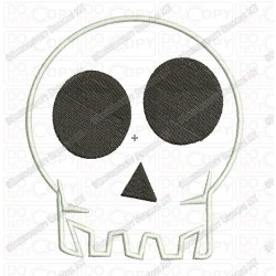 Skull Head Halloween Applique Embroidery Design in mini 3x3 4x4 and 5x7 Sizes