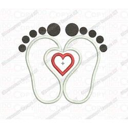Feet with Heart Applique Embroidery Design in 3x3 4x4 and 5x5 Sizes