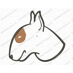 Bull Terrier Head Dog Puppy Canine Applique Embroidery Design in 3x3 4x4 and 5x7 Sizes