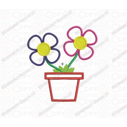 Flowers in Pot Applique Embroidery Design in 3x3 4x4 and 5x7 Sizes