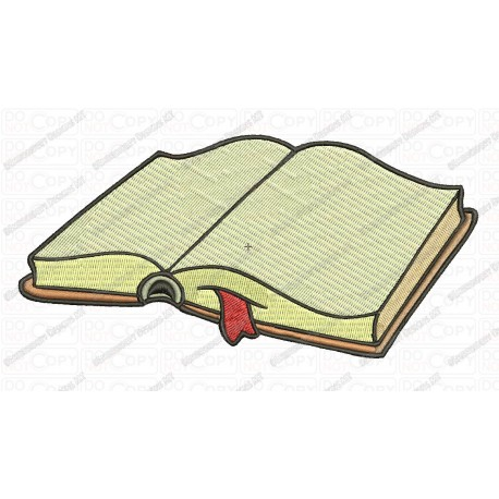 Open Book with Bookmark Back to School Embroidery Design in 2x2 3x3 4x4 and 5x7 Sizes