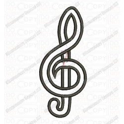 Treble Clef Musical Note Applique Embroidery Design in 2x2 3x3 4x4 5x7