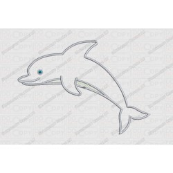 Dolphin Applique One Layer Applique Embroidery Design in 3x3 4x4 and 5x7 Sizes