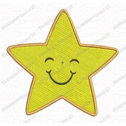 Smiling Star Embroidery Design in 1x1 2x2 3x3 4x4 and 5x7 Sizes