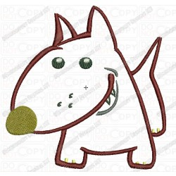 Bull Terrier Dog Puppy Canine Applique Embroidery Design in 4x4 and 5x7 Sizes