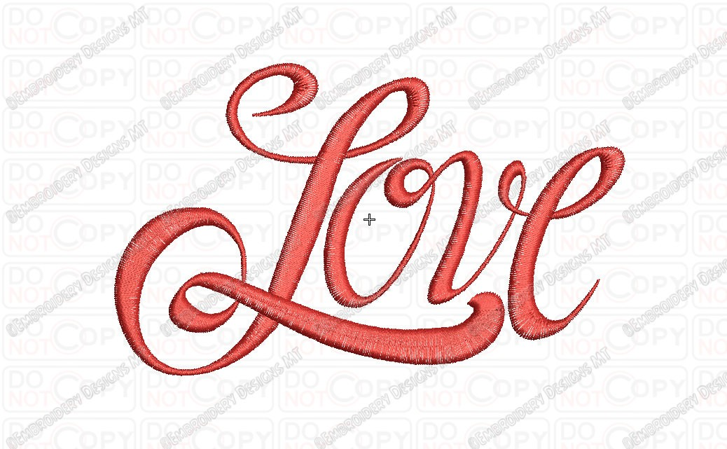 Love Cursive Fancy Script Embroidery Design In 1x1 2x2 3x3 4x4 And 5x5 Sizes