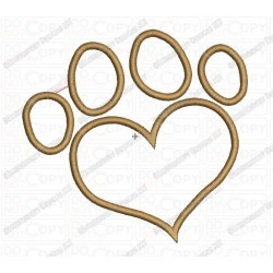 Heart Paw Applique Embroidery Design in 2x2 3x3 4x4 and 5x7 Sizes