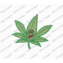 Marijuana Happy Leaf Embroidery Design in 3x3 4x4 and 5x5 Sizes