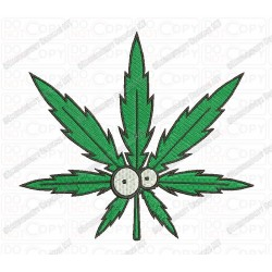 Goofy Weed Leaf Marijuana Cannabis Embroidery Design in 2x2 3x3 4x4 and 5x7 Sizes