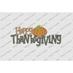 Happy Thanksgiving with Pumpkin Script Embroidery Design in 4x4 and 5x7 Sizes