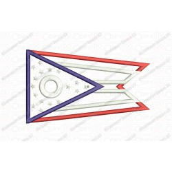 Ohio OH State Flag Applique Embroidery Design in 4x4 and 5x7 Sizes