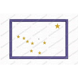 Alaska AK State Flag Applique Embroidery Design in 4x4 and 5x7 Sizes