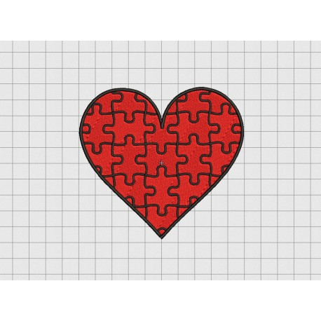 Heart Puzzle Valentine Embroidery Design In 2x2 3x3 4x4 And 5x5