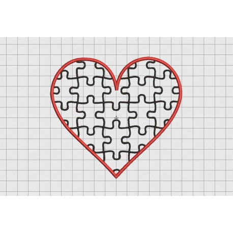 Heart Puzzle Applique Valentine Embroidery Design In 2x2 3x3 4x4 5x5