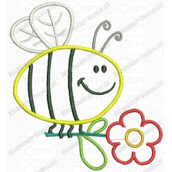 Bumble Bee Holding Flower Multi Layer Applique Embroidery Design in 4x4 and 5x7 Sizes