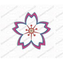 Five Petal Flower 1 Layer Applique Embroidery Design in 3x3 4x4 and 5x5 Sizes