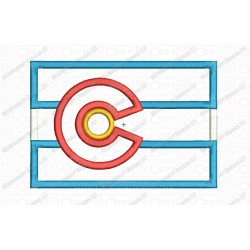 Colorado CO State Flag Applique Embroidery Design in 4x4 and 5x7 Sizes