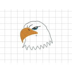 "Bald Eagle Head Felt Embroidery Design in .7"" 1"" 1.5"" and 2"" Sizes"