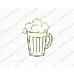 Beer Mug 2 Layer Applique Embroidery Design in 3x3 4x4 and 5x5 Sizes
