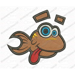 Fish Goofy Toon Embroidery Design in 3x3 4x4 and 5x7 Sizes