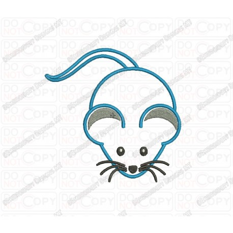 Mouse Applique Embroidery Design In 3x3 4x4 And 5x5 Sizes Pixels 2