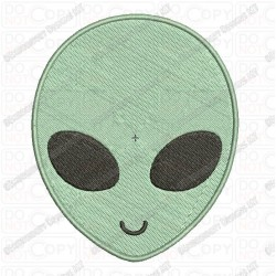 Alien Head Face Embroidery Design in Mini 1x1 2x2 3x3 4x4 and 5x7 Sizes