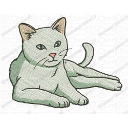 Basic Cat Feline Full Stitch Embroidery Design in 3x3 4x4 and 5x7 Sizes