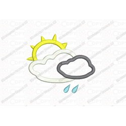 Cloud Rain and Sun 3 Layer Applique Embroidery Design in 3x3 4x4 and 5x5 Sizes