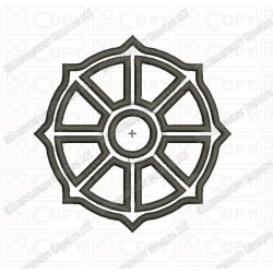 Buddhist Wheel of Dharma Budism Applique Embroidery Design in 3x3 4x4 and 5x7 Sizes