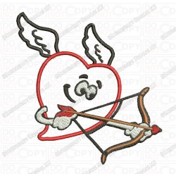 Cupid Heart Applique Valentine Embroidery Design in 3x3 4x4 and 5x7 Sizes