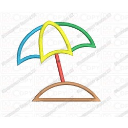Beach Umbrella Sand Applique Embroidery Design in 3x3 4x4 and 5x7 Sizes