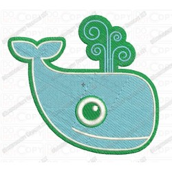 Classic Whale Embroidery Design in 3x3 4x4 and 5x7 Sizes