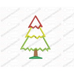 Christmas Tree 3 Layer Applique Embroidery Design in 3x3 4x4 and 5x5 Sizes