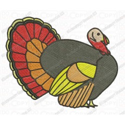 Thanksgiving Turkey Embroidery Design in 3x3 4x4 and 5x7 Sizes