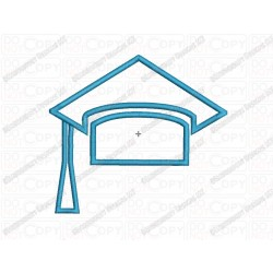 Graduation Cap 3 Layer Applique Embroidery Design in 3x3 4x4 and 5x7 Sizes