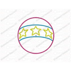 Star Ball Applique Embroidery Design in 3x3 4x4 and 5x7 Sizes