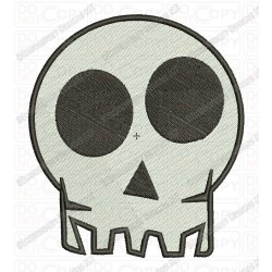 Skull Head Halloween Full Stitch Embroidery Design in mini 2x2 3x3 4x4 and 5x7 Sizes