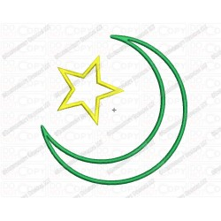 Islam Star and Crescent Religious Symbol Applique Embroidery Design in 3x3 4x4 and 5x7 Sizes