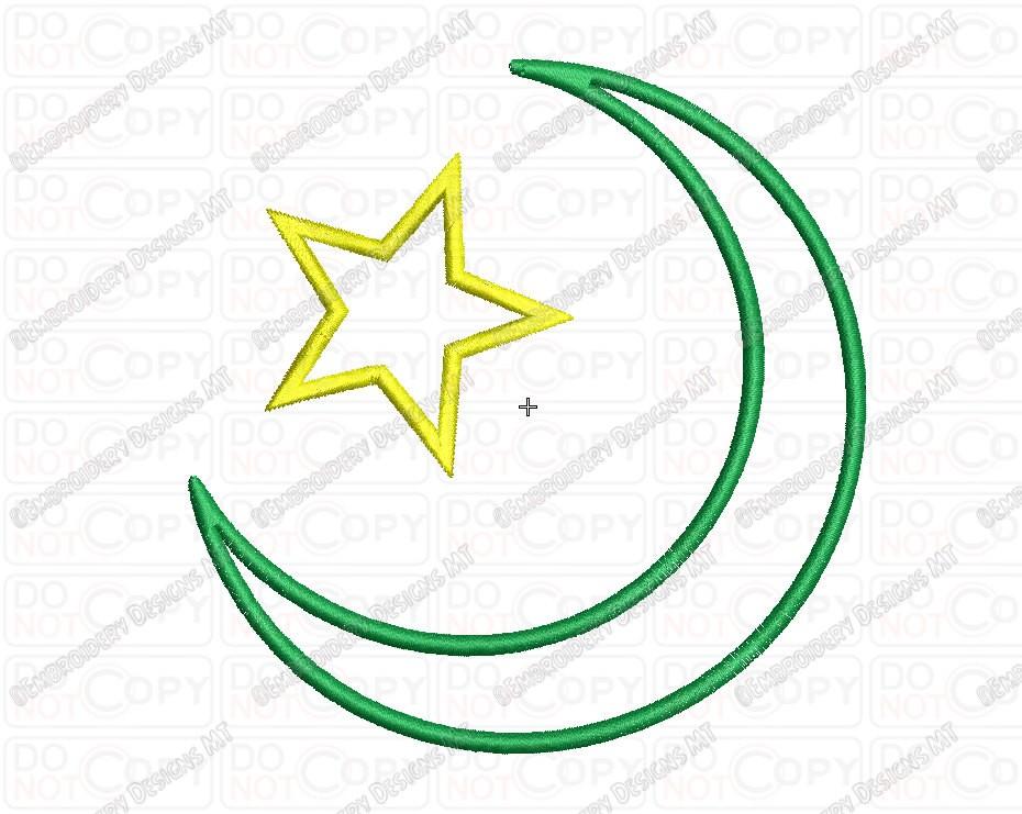 Islam Star And Crescent Religious Symbol Applique Embroidery Design