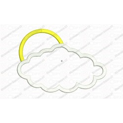 Cloud and Sun 2 Layer Applique Embroidery Design in 3x3 4x4 and 5x7 Sizes