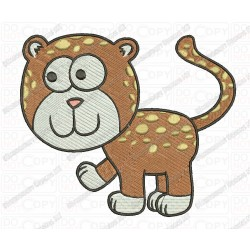 Childish Leopard Cat Embroidery Design in 3x3 4x4 and 5x7 Sizes