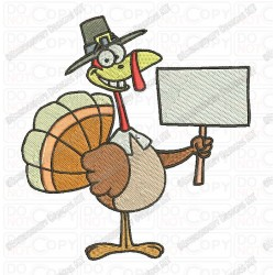 Thanksgiving Turkey Holding Sign Embroidery Design in 3x3 4x4 and 5x7 Sizes