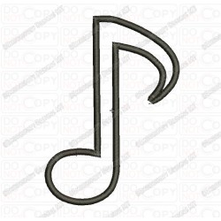Eighth Musical Note Applique Embroidery Design in 2x2 3x3 4x4 5x7