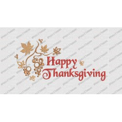 Happy Thanksgiving Fancy Script Embroidery Design in 4x4 and 5x7 Sizes