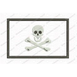 Jolly Roger Pirate Flag Applique Embroidery Design in 3x3 4x4 and 5x7 Sizes