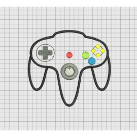 Video Game Controller Nintendo 64 N64 Style Applique Embroidery Design in 4x4 5x5 6x6 and 7x7 Sizes