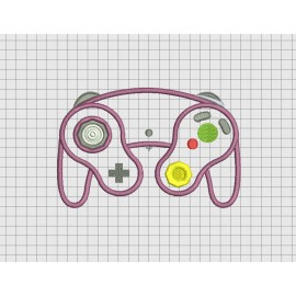 Video Game Controller Nintendo Gamecube Style Applique Embroidery Design in 4x4 and 5x7 Sizes